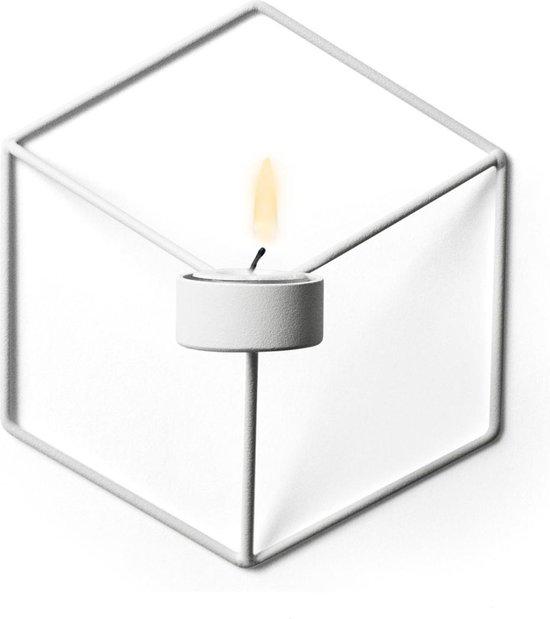 Stijlvolle Waxinelichtjeshouder Met Geometrisch Design - Kaarshouder | Waxinelicht | Industrieel | Sfeervol| Gezellig| Wit | White