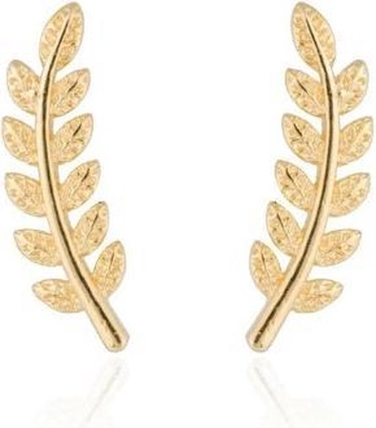 Joboly Trendy blad veer leaf oorbellen langs je oorlijn kort - Dames - Goudkleurig
