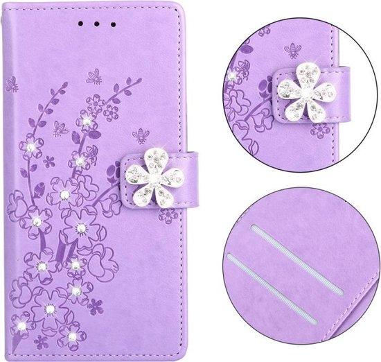 Let op type!! Plum Blossom patroon Diamond ingelegde lederen case voor Huawei Honor 8  met houder & kaartsleuven (Plum Purple)