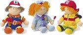 """Lappenpop 3 stuks """"Professional"""" -  verpleegster, de brandweerman of de bouwer - Speelgoed vanaf 0 jaar"""