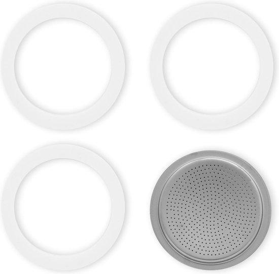Bialetti Moka filterplaatje + rubber ringen - 6 kops