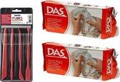 Witte boetseerklei van DAS 2 x 1 kilo inclusief boetseer gereedschap setje - Hobby boetseer klei met gereedschap