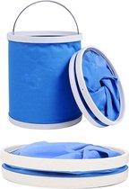Opvouwbare Emmer - Inklapbare Draagbare Bucket Met Metalen Handvat - Ideaal Voor Vissen/Outdoor/Thuis/Travel/Camping - 11 Liter - Blauw