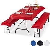 relaxdays tafelkleed biertafel en banken - 3-delige hoezen set biertent - 250 x 100 cm rood