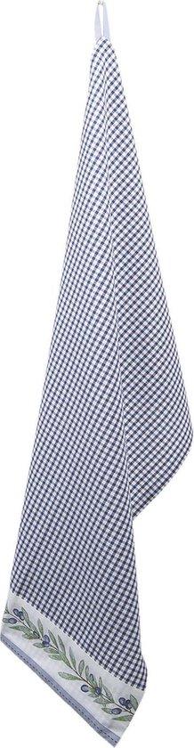 Clayre & Eef Theedoek OLG42CBL 50*85 cm - Blauw 100% Katoen Vaatdoek Keukendoek Schotelvod