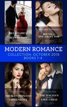 Omslag Modern Romance October Books 1-4: Billionaire's Baby of Redemption / Bound by a One-Night Vow / Sheikh's Princess of Convenience / The Italian's Unexpected Love-Child