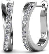 Yolora Oorringen Swarovski Kristallen - zilver kleurig - dames -18K witgoud – YO-148