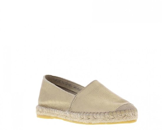 Tango | Vera 1-d Soft Gold Metallic Leather Flat Basic Espadrille - Natural Outsole Maat: 42 KO4xZX