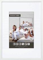 Vlakke Aluminium Wissellijst - Fotolijst - 40x40 cm - Helder Glas - Wit - 10 mm