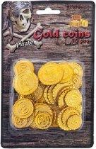 Piraat munten goud 50 stuks - Piraten verkleed accessoire - Gouden speelgoed munten