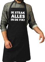 Ik steak alles in de fik barbecue schort / keukenschort voor heren - L 86 x B 72 CM- Zwart