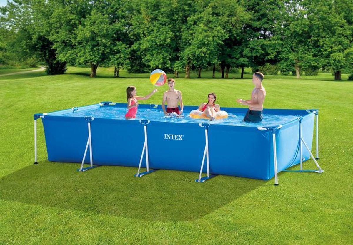 Intex Rechthoekige Frame Pool Zwembad (12V Filterpomp) 450X220X84CM