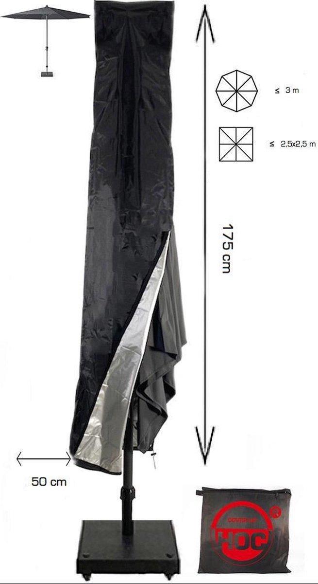 Redlabel parasolhoes staande parasol- 175x28x50 cm - met Rits, Stok en Trekkoord incl. Stopper- Zwar