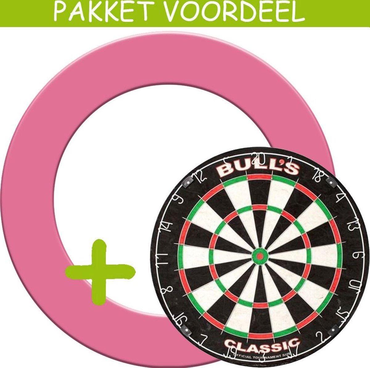 Dartbord Surround VoordeelPakket - Bulls Classic - Rubberen Surround-- (Roze)