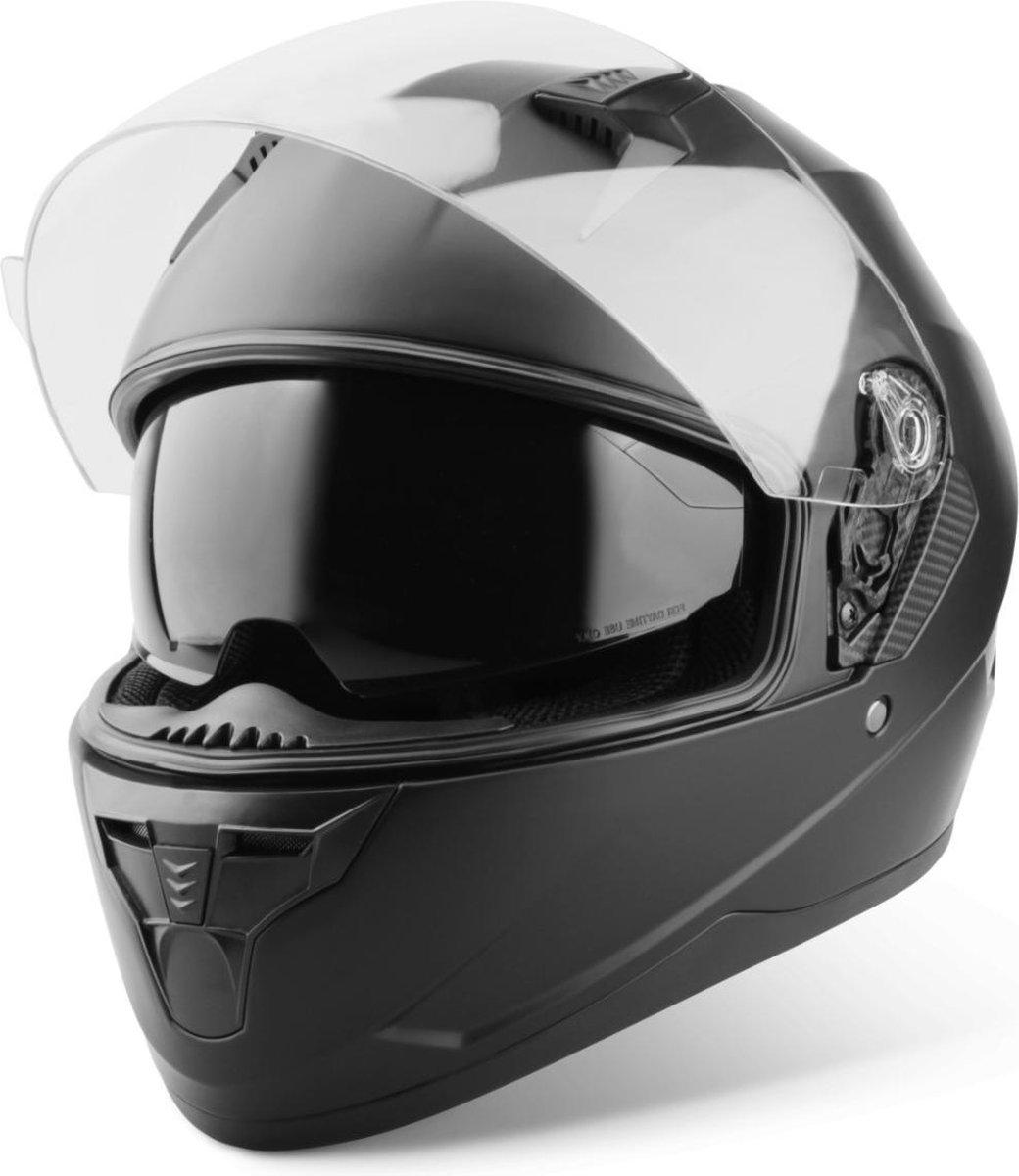 Vinz Kennet Integraalhelm met Zonnevizier / Motorhelm / Scooter helm / Brommerhelm   Mat Zwart