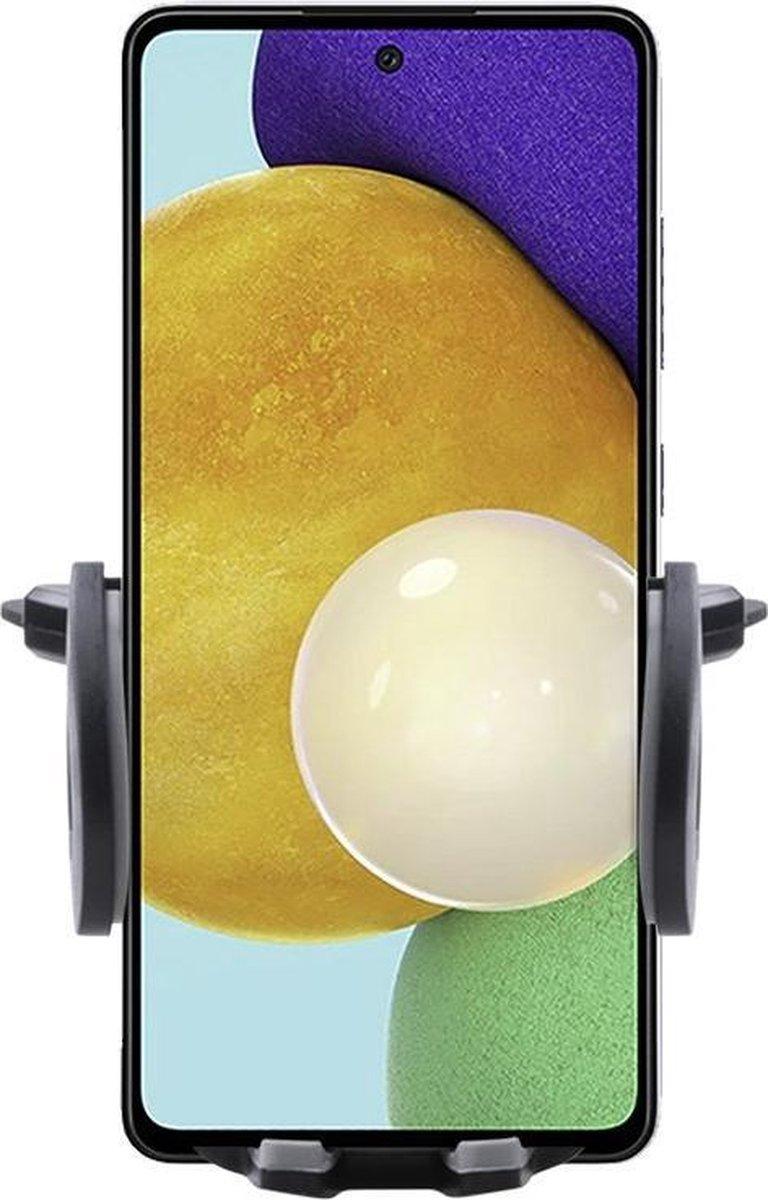 Shop4 – Samsung Galaxy A52 Autohouder Verstelbare CD Houder Zwart met Draaiklem Zwart