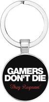 Akyol® Gamers don't die, they respawn Sleutelhanger | Gamen | Gamer | Leuk kado voor iemand die van gamen houd | 2,5 x 2,5 CM
