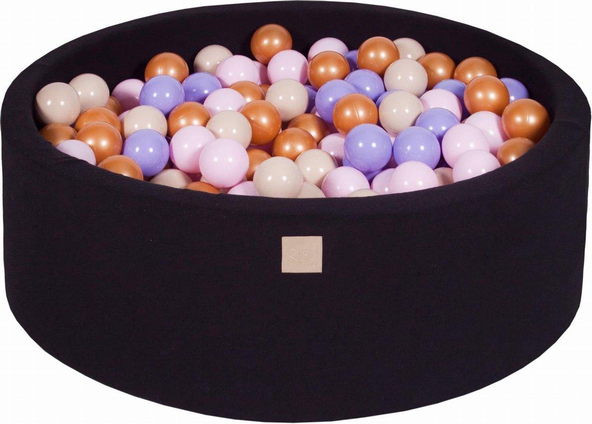 Ronde Ballenbak set incl 300 ballen 90x40cm - Zwart: Goud, Beige, Roze, Lila