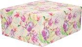 1x Inpakpapier/cadeaupapier creme met paarse bloemen en vogels motief 200 x 70 cm rol - 200 x 70 cm - kadopapier / inpakpapier