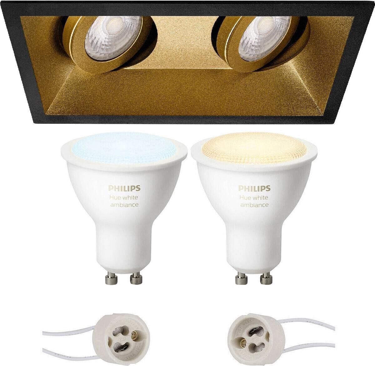 PHILIPS HUE - LED Spot Set GU10 - White Ambiance - Bluetooth - Proma Zano Pro - Inbouw Rechthoek Dubbel - Mat Zwart/Goud - Kantelbaar - 185x93mm