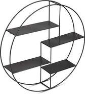 LIFA LIVING Wandrek rond - Industrieel - Metaal - 4 planken - Zwart - Metalen rek