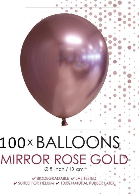 100 chrome 5 inch kleine ballonnen  roségoud.