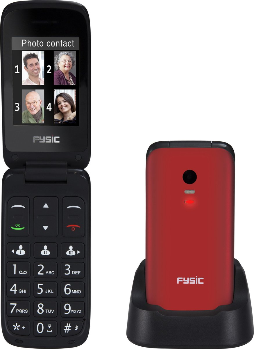Fysic FM-9710RD Senioren mobiele klaptelefoon – SOS Noodknop, Camera 1.3 megapixel, Grote toetsen