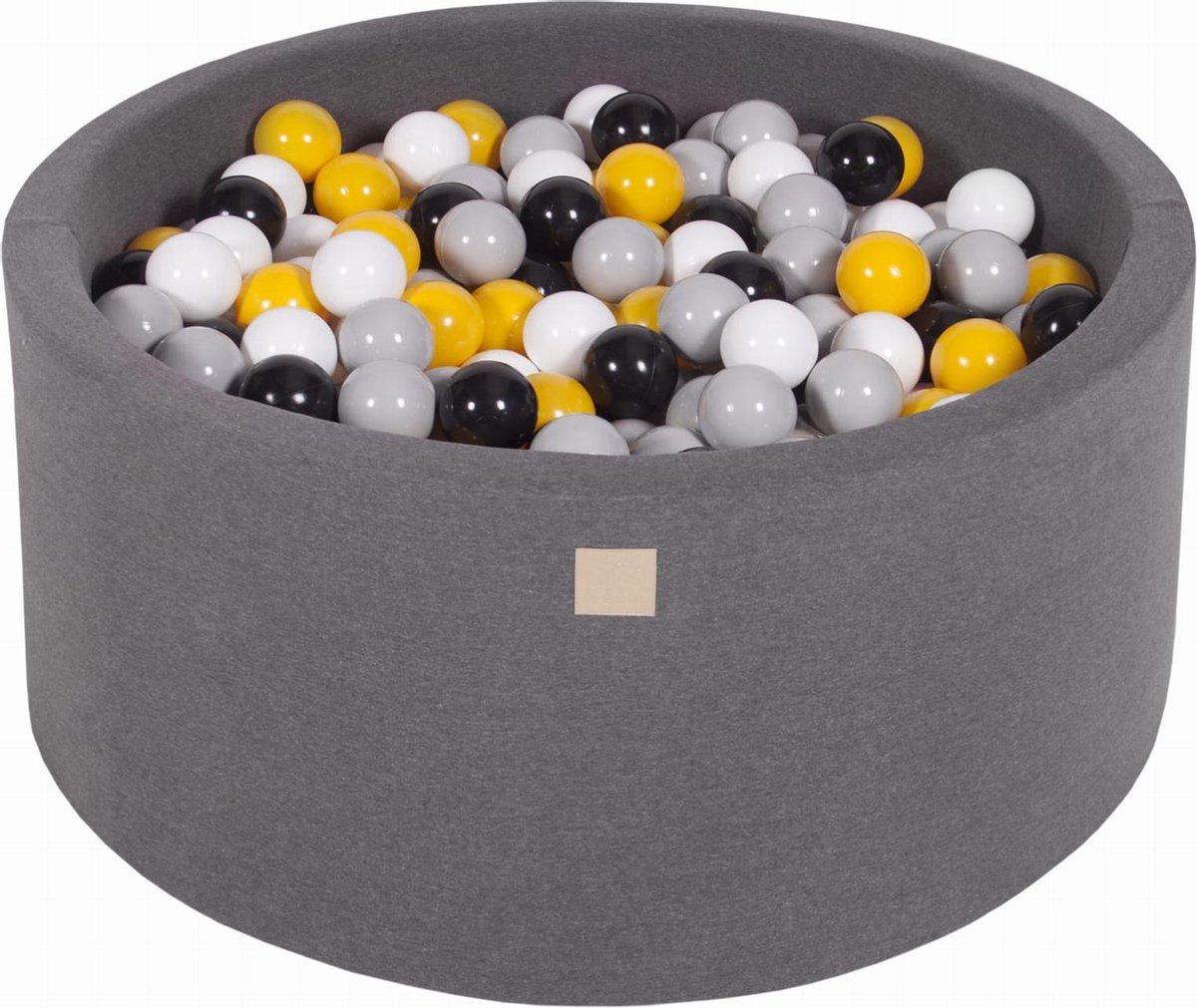Ronde Ballenbak set incl 300 ballen 90x40cm - Donker Grijs: Grijs, Wit, Zwart, Geel