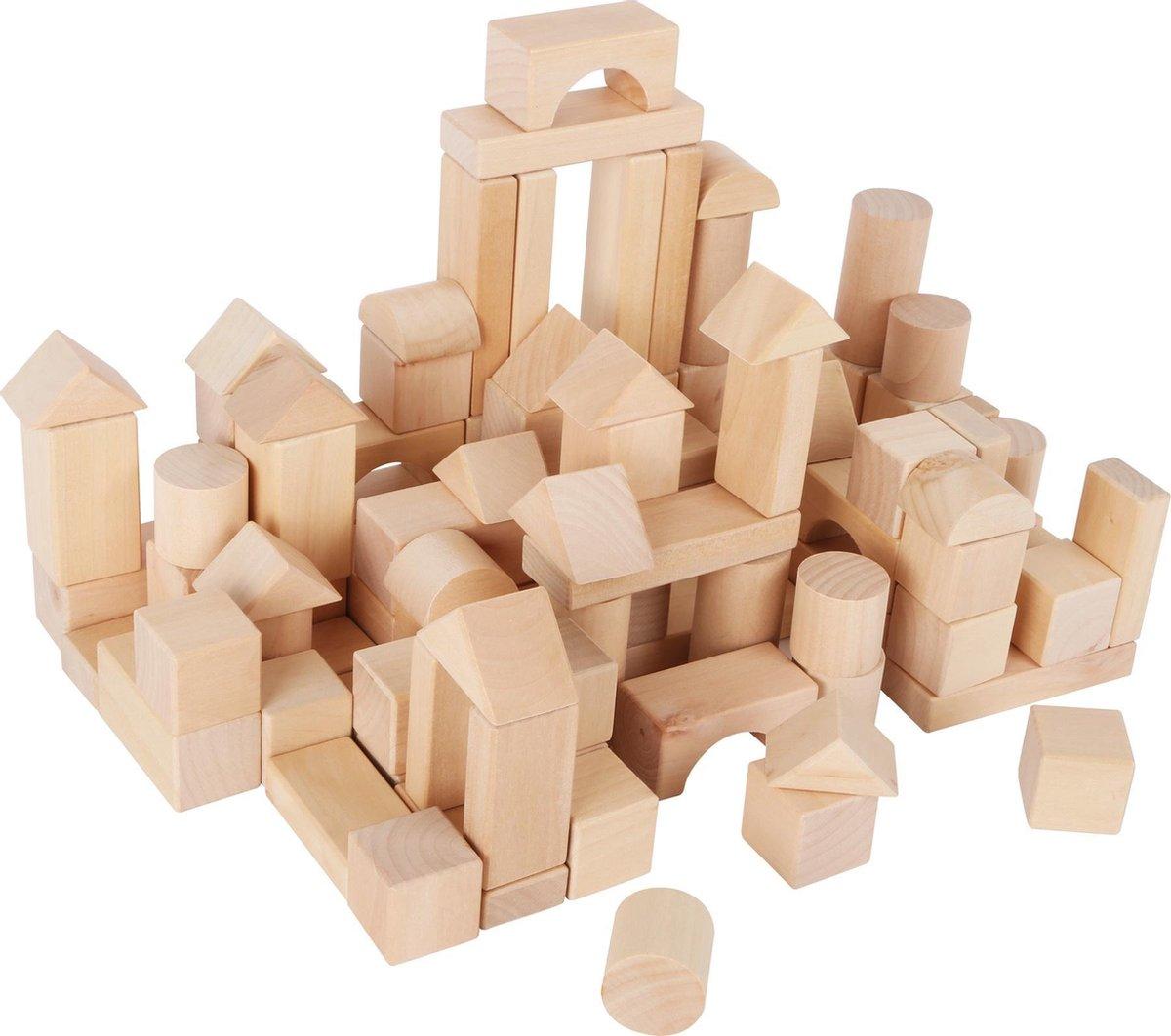 Small Foot 100 houten blokken in handige opberg zak.