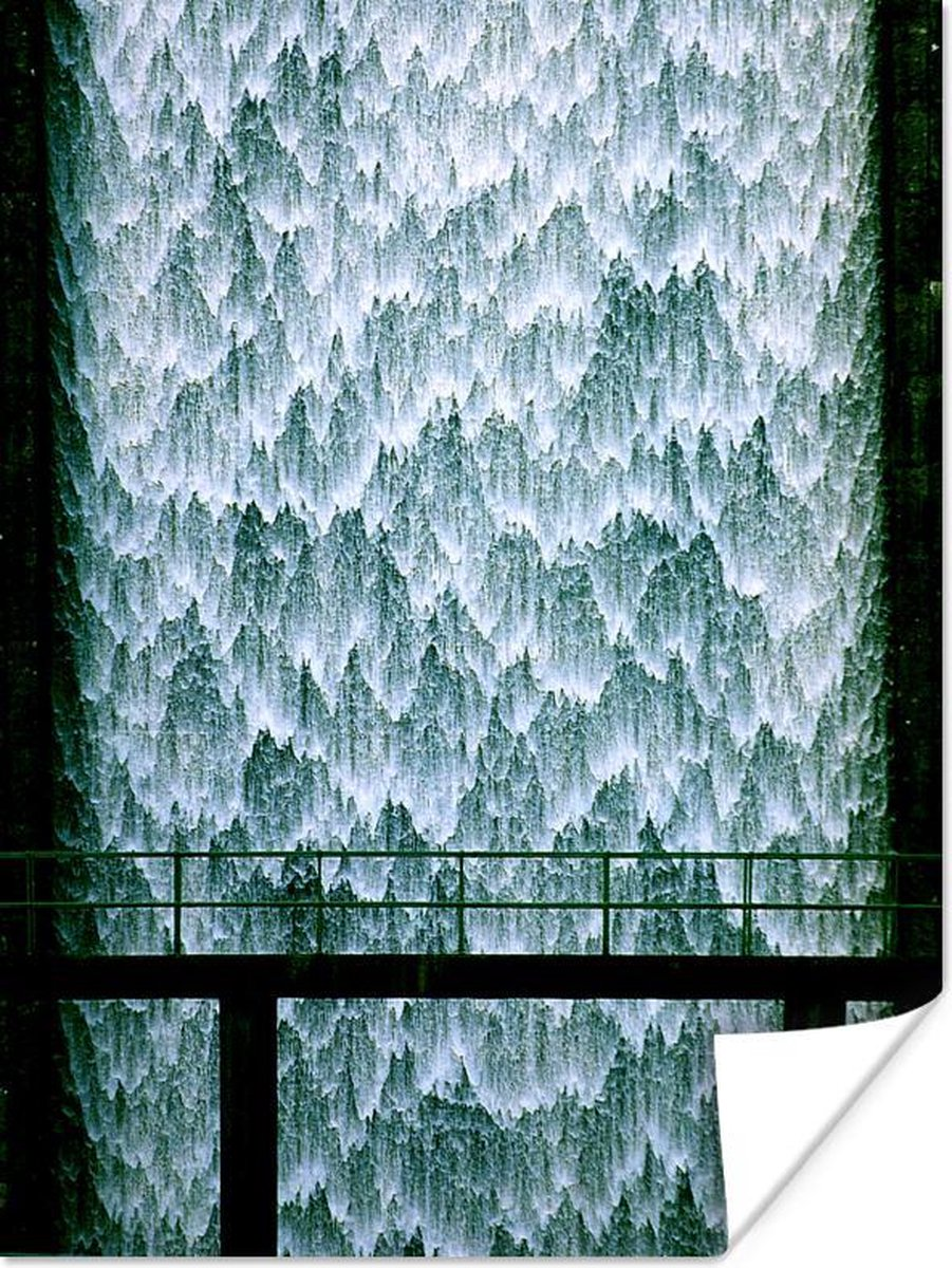 Waterstroom met ijs fragmenten poster papier 120x160 cm - Foto print op Poster (wanddecoratie woonkamer / slaapkamer) / natuurverschijnselen Poster XXL / Groot formaat!