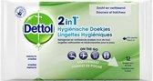 Dettol 2-in-1 Hygiënische Schoonmaakdoekjes - Zakformaat - 3 x 12 doekjes