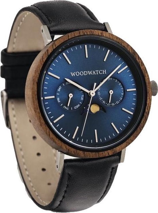 De officiële WoodWatch   Cobalt Acacia Jet   Houten horloge heren