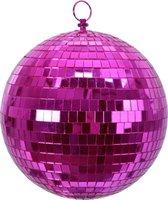 1x Roze disco kerstballen discoballen/discobollen foam 20 cm - Discoballen kerstballen roze - kerstversiering