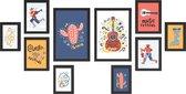 Fotowand met Collage van 10 Fotolijsten voor Foto's van Verschillende Formaten (20x30, 13x18, 10x15) - Multi Fotokaders in MDF - Zwart