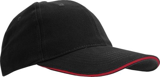 SOLS Unisex Buffalo 6 Panel Baseball Cap (Zwart/Rood)