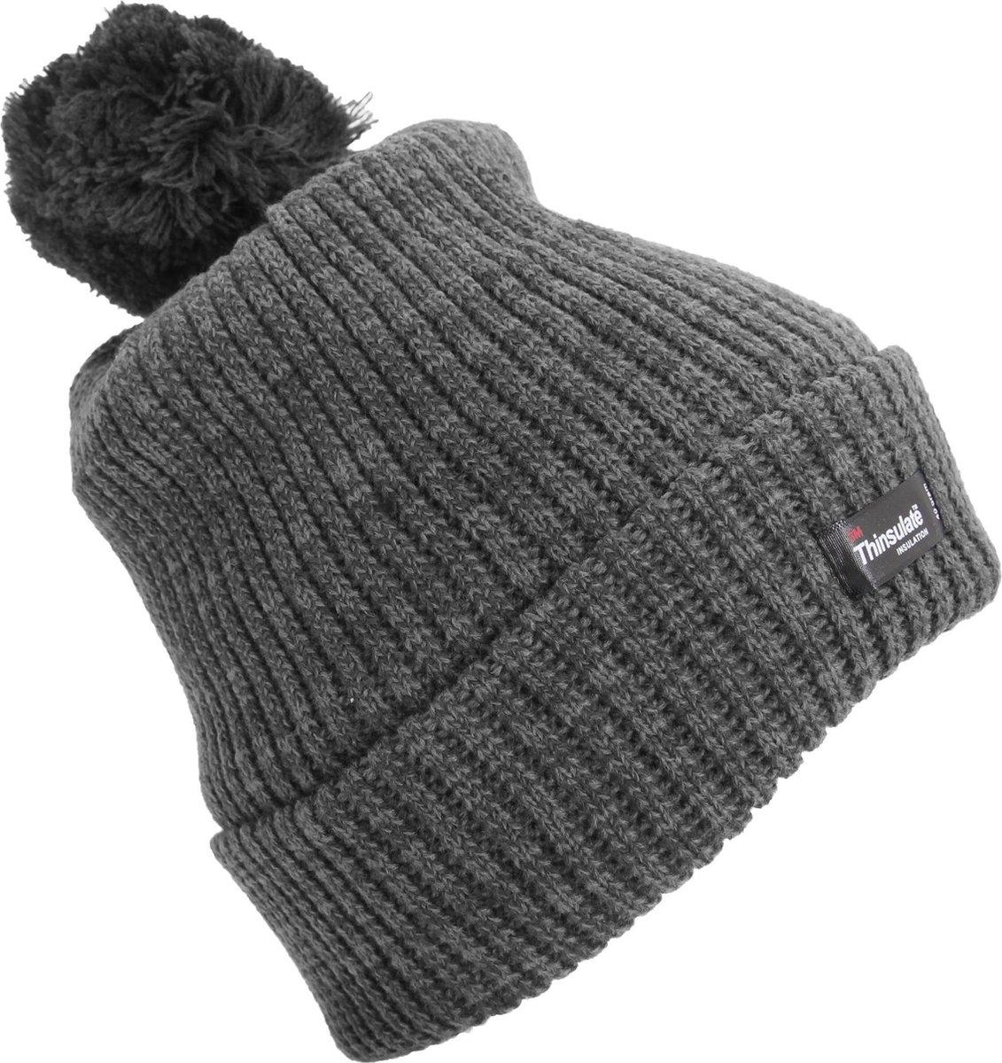 Vrouwen/dames Thinsulate Pom Pom Thermal Winter Hat (3M 40g) (Grijs)