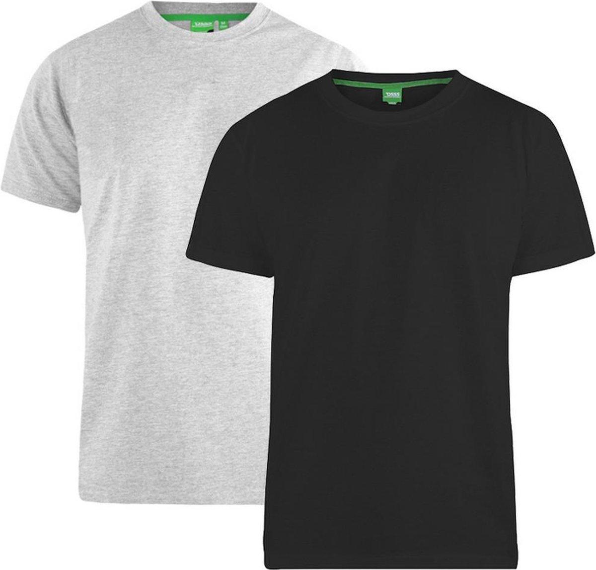Duke Heren Fenton D555 Ronde Hals T-shirts (Verpakking van 2 stuks) (Zwart/Grijs)