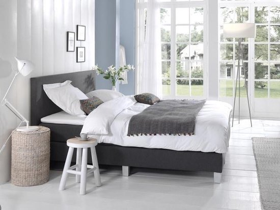Complete Boxspring 180x200 cm - Antraciet - Pocketvering matrassen - Dreamhouse Louis - Twee persoons