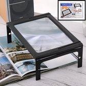 Decopatent® Tafel Loep - Vergrootglas met LED verlichting - Loep 2.5x - Vergrootglas Lezen - Voor Slechtziende - 28 x 21 x 10.6 Cm