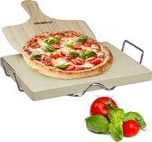 Relaxdays - pizzasteen set met pizzaschep - 3 cm dik - baksteen - pizza steen