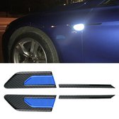 2 STKS Koolstofvezel Auto-Styling Spatbord Reflecterende Bumper Decoratieve Strip, Binnenreflectie + Externe Koolstofvezel (Blauw)
