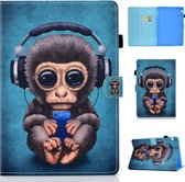 Voor Huawei MediaPad T5 Horizontale TPU Painted Flat Feather Case Anti-slip strip met Pen Cover & Card Slot & Holder (Headphone Monkey)