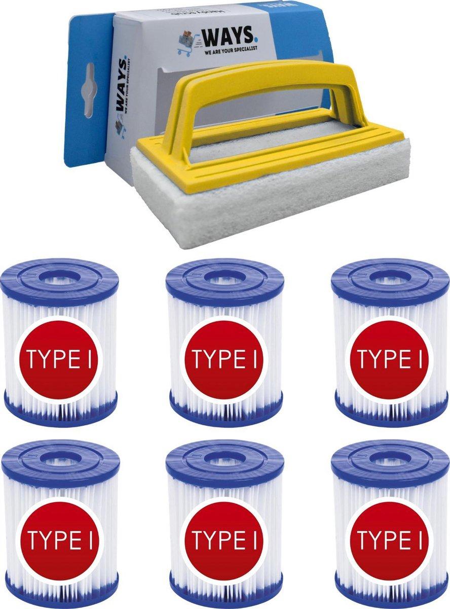 Bestway - Type I filters geschikt voor filterpomp 58381 - 6 stuks & WAYS scrubborstel