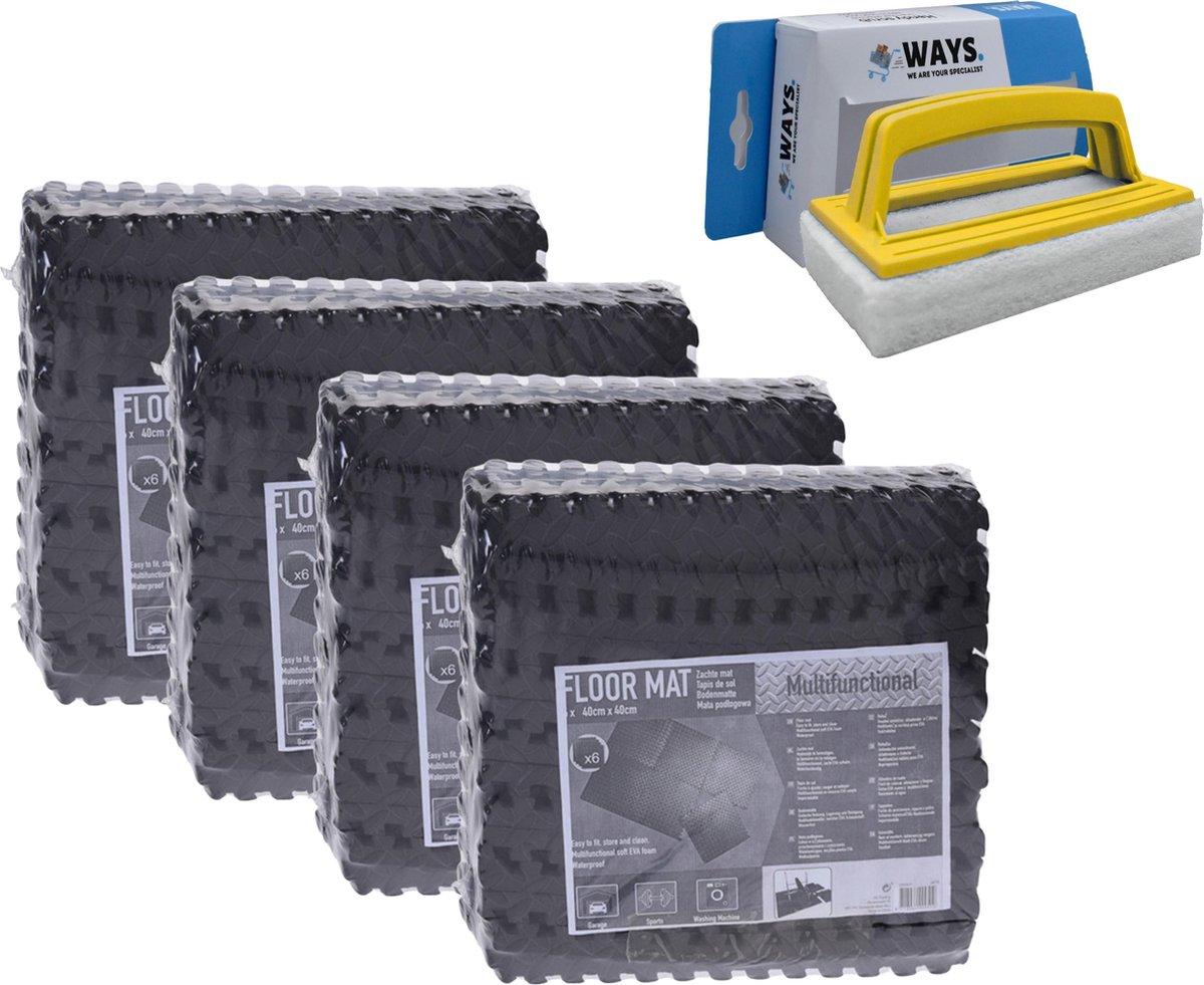 Zwembadtegels - Voordeelverpakking - 4 verpakkingen van 6 tegels - 40x40 cm & WAYS scrubborstel