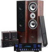 Surround set home cinema - Fenton home cinema surround set met 5 speakers + versterker met Bluetooth en mp3 speler - 510W - Walnoot