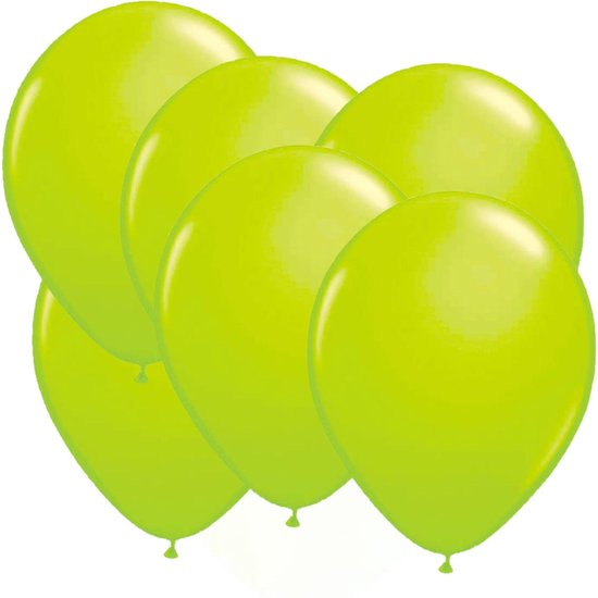 32x stuks Neon fel groene latex ballonnen 25 cm - Feestversiering/feestartikelen