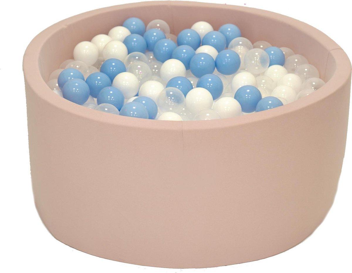 Ballenbak Roze 90x40 met 250 ballen Babyblauw, Transparant, Wit