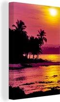 Siargao zonsondergang Canvas 20x30 cm - klein - Foto print op Canvas schilderij (Wanddecoratie woonkamer / slaapkamer)
