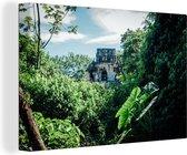 Jungle ruïne in Palenque Mexico Canvas 120x80 cm - Foto print op Canvas schilderij (Wanddecoratie woonkamer / slaapkamer)