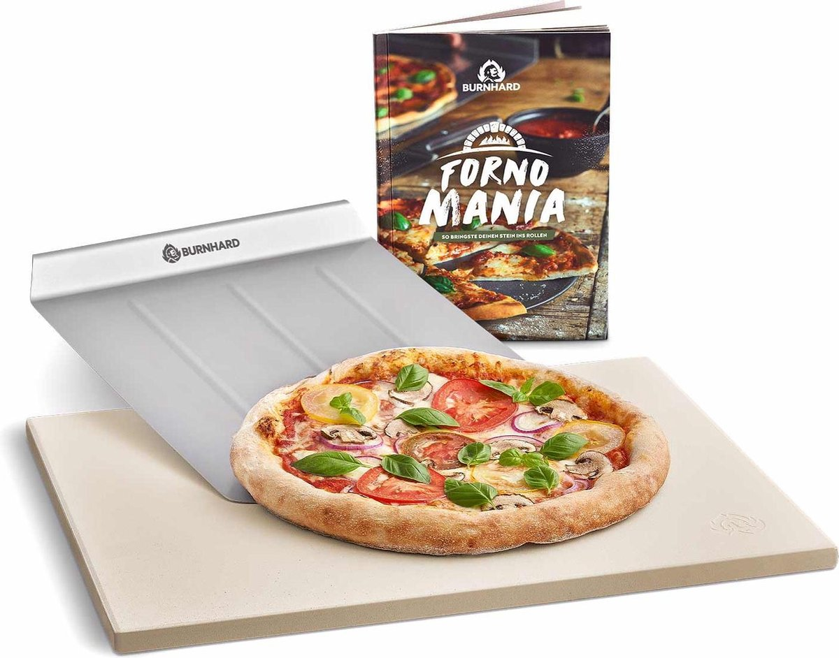 Pizzasteen 45 x 35 x 1,5 cm + pizzaschep